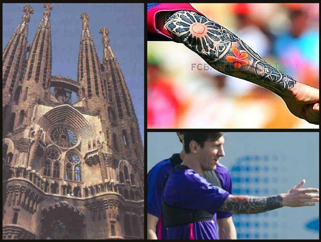 Tatuaje manga completa de Messi inspirado de la Sagrada Familia