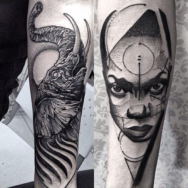 Arte de tatuaje Blackwork