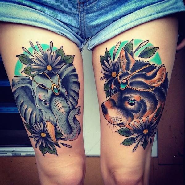 tatuajes para mujeres de animales en las piernas