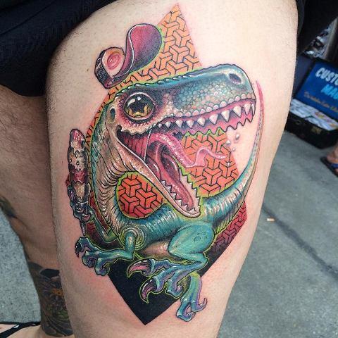 Tatuaje Neo tradicional en la pierna por Jota Paint