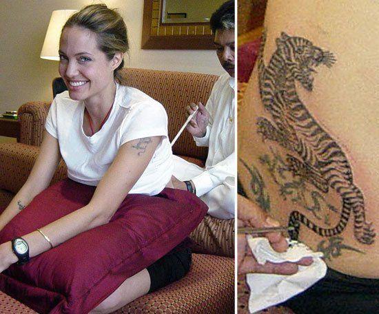 Angelina Jolie también se ha tatuado tradicionalmente en Sak Yank