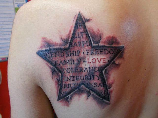 Tatuaje de estrella 3d
