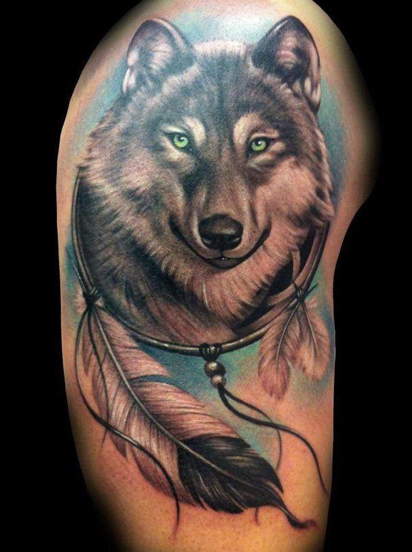 Retrato de lobo dentro de atrapa sueños