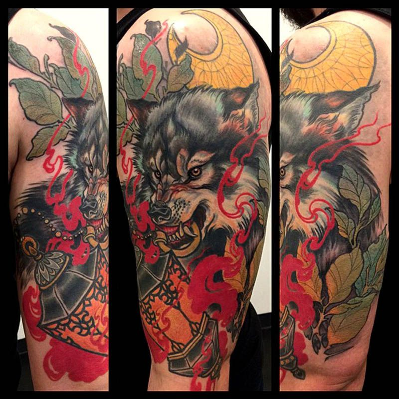 Tatuaje lobo por Teniele Sadd