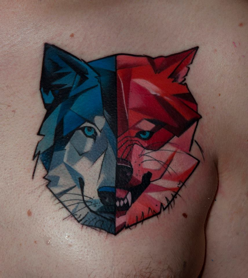 Tatuaje lobo muy original por Halasz Matyas