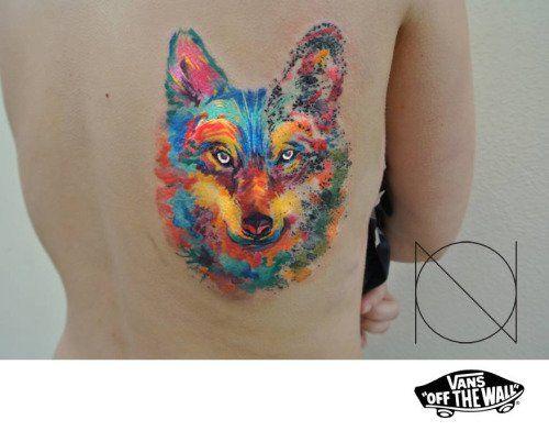 Tatuaje lobo sin lineas