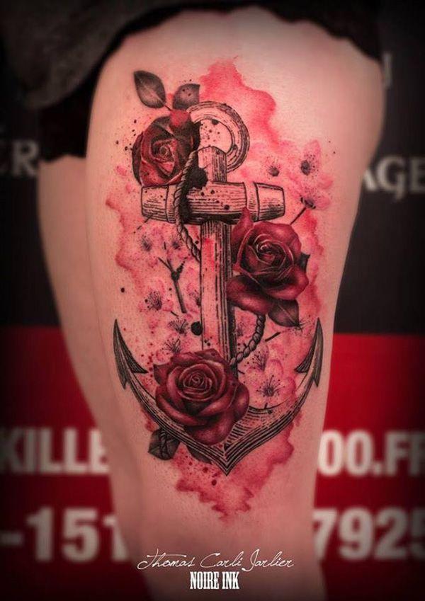Magnifica ancla con una rosa