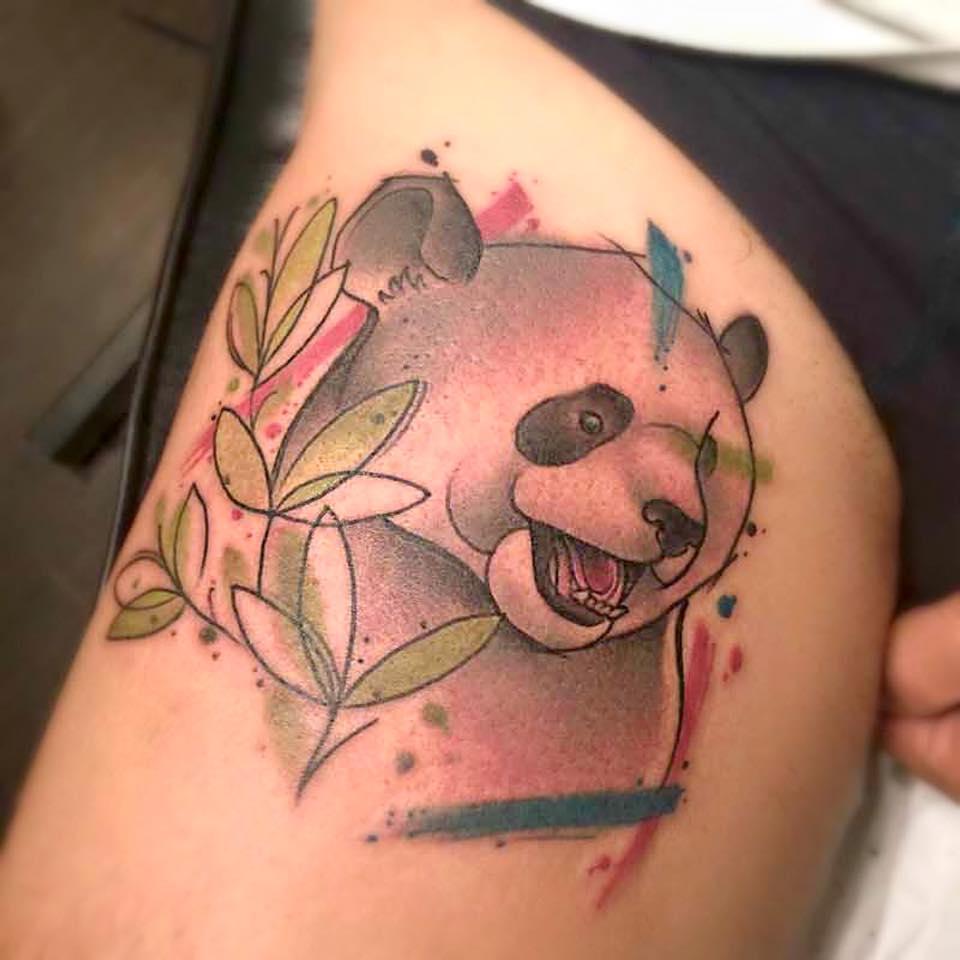 Oso panda en estilo de acuarela