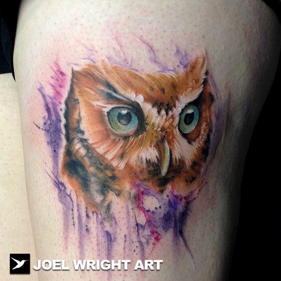Tatuaje de buho por Joel Wright