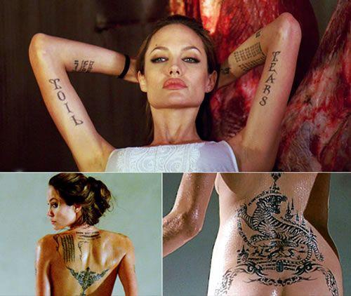 varios tatuajes de Angelina Jolie