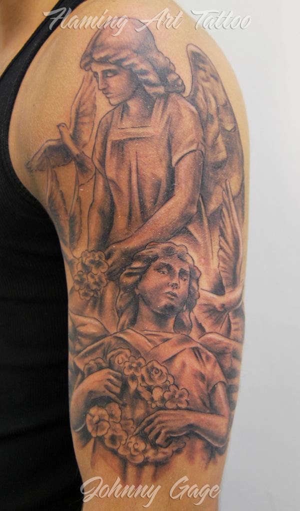 tatuajes de angeles en el hombro