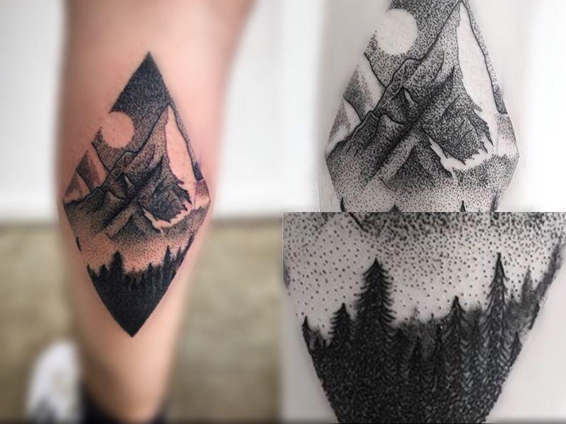 Increible tatuaje de puntillismo con arboles