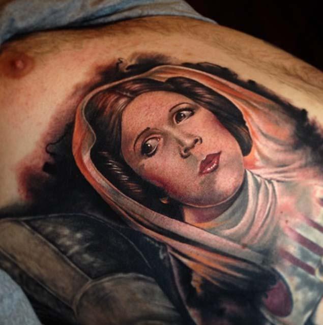Tatuajes de Star Wars representando a la princesa Leia.